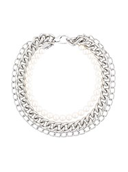 Moschino Tiered Chain And Pearl Necklace Metallic