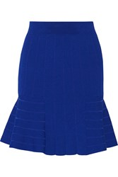 Sandro Juliette Stretch Ribbed Knit Mini Skirt Blue