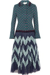 Mary Katrantzou Oliver Jacquard And Plisse Tulle Coat Blue