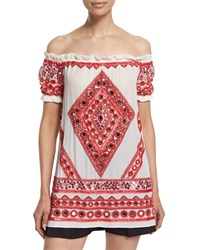 Naeem Khan Off The Shoulder Embroidered Peasant Top White Red