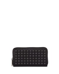 Neiman Marcus Grommet Zip Around Wallet Black