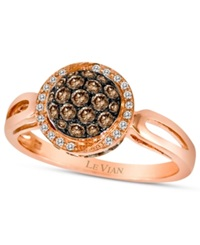 Chocolate By Petite Le Vian Chocolate Diamond 1 2 Ct. T.W. And White Diamond Accent Pave Oval Ring In 14K Rose Gold