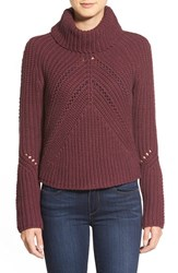 Petite Women's Halogen Turtleneck Sweater With Open Stitch Detail Burgundy Stem