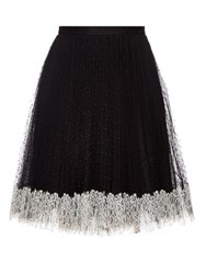 Red Valentino Lace Hem Pleated Tulle Skirt Black White