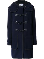 Carven Hooded Duffle Coat Blue