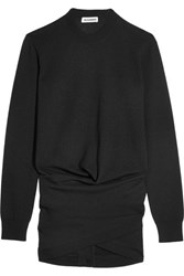 Jil Sander Ruched Wool Sweater Black