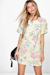 Boohoo Floral Cap Sleeve Shift Dress Yellow