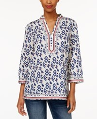 Charter Club Petite Printed Embroidered Tunic Only At Macy's Cloud