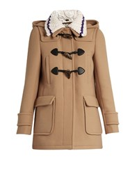 Miu Miu Detachable Collar Wool Duffle Coat Camel