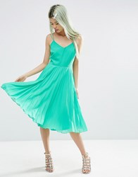 Asos Strappy Midi Dress With Pleated Skirt Green