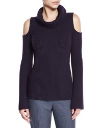 Elie Tahari Torrence Cashmere Cowl Neck Cold Shoulder Ribbed Sweater Aubergine