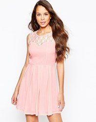 Pussycat London Skater Dress With Lace Top And Pleated Skirt Pink