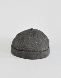 Asos Docker Cap In Charcoal Nep Charcoal Grey