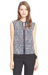 Tory Burch Pleated Silk Shell Blue Willow