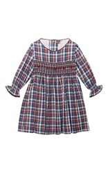 La Coqueta Smocked Dress Blue Red White