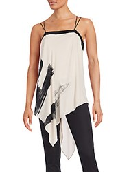 Halston Asymmetrical Hem Flowy Sleeveless Top Buff