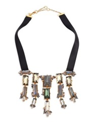Alexis Bittar Elements Punk Labradorite Pyrite Crystal And Ribbon Cascading Baguette Bib Necklace Gold Multi