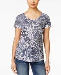 Styleandco. Style And Co. Printed Short Sleeve Top Only At Macy's Nashville Night