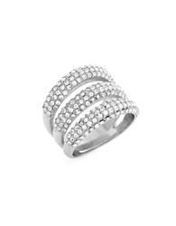 Vince Camuto Triple Bar Glass Pave Ring Silver