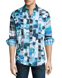 Robert Graham Arabian Sea Woven Button Front Shirt Blue
