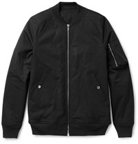 Rick Owens Stretch Cotton Bomber Jacket Black