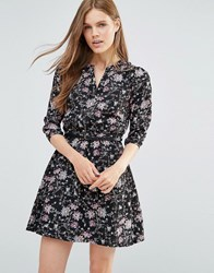 Yumi Floral Print Mini Dress With 3 4 Sleeves Black