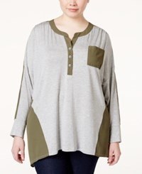 Stoosh Plus Size Long Sleeve Colorblocked Knit Henley Top Heather Grey