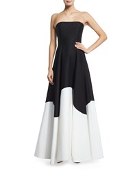 Halston Heritage Strapless Colorblock Structured Gown Black Eggshell Size 14