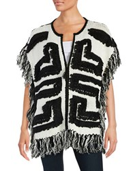 Design Lab Lord And Taylor Fringed Zip Front Knit Cardigan Winter White
