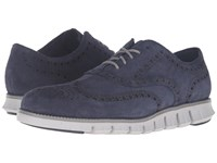 Cole Haan Zerogrand Wing Oxford Marine Blue Suede Vapor Grey Men's Lace Up Casual Shoes