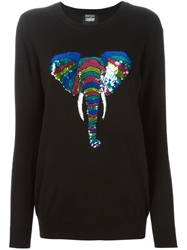 Markus Lupfer 'Natalie' Sequin Elephant Sweater Black