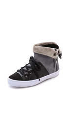 Rebecca Minkoff Spencer High Top Sneakers New Grey Putty Black