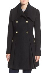 Guess Petite Women's Envelope Collar Double Breasted Coat Black