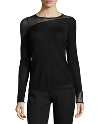 Elie Tahari Kira Long Sleeve Sheer Inset Wool Sweater