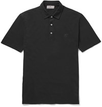 Canali Slim Fit Stretch Cotton Pique Polo Shirt Black