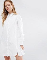 Native Youth Button Front Shirt Dress White