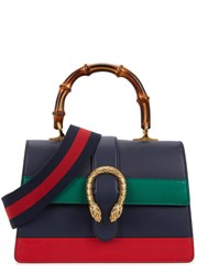 Gucci Dionysus Striped Leather Tote Navy