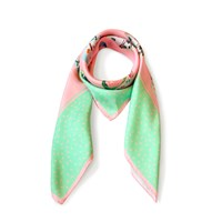 Nonamu Nyonya Teatime Silk Scarf Mint Green And Pink Green Pink Purple