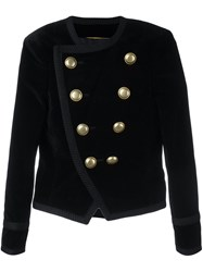 Saint Laurent 'Spencer' Cropped Velvet Blazer Black