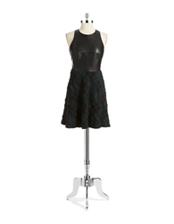 Bailey 44 Faux Leather Accented Fit And Flare Dress