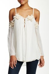 Luma Summer Cold Shoulder Silk Blouse White