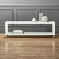 Cb2 Go Cart White Rolling Tv Stand Coffee Table