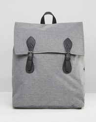 Asos Backpack In Grey Marl With Contrast Trims Grey Marl