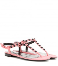 Balenciaga Classic Studded Suede Sandals Pink