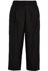 Iris And Ink Phoebe Cropped Wool Wide Leg Pants Black