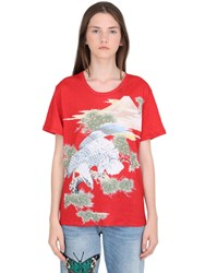 Gucci Eagle Printed Linen Jersey T Shirt