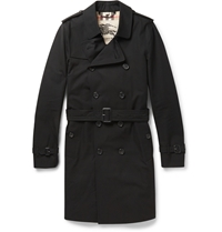 Long Cotton Gabardine Trench Coat Black