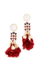 Tory Burch Tropical Creature Feather Chandelier Earrings Coffeeberry Vintage Gold