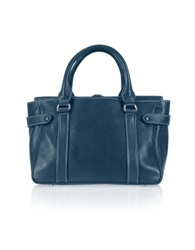 Buti Side Snaps Calf Leather Satchel Bag Blue