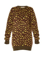 Christopher Kane Leopard Intarsia Sweater Khaki Multi